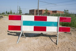 Barrier for roadworks in a street in a residential area in Arnhem in the Netherlands