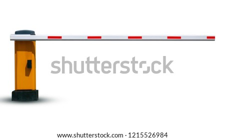 Barrier in the parking lot for security on white background  With clipping path #1215526984