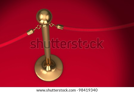 Barrier rope and red background (isolated on white and clipping path)
