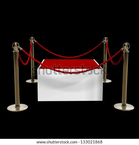 Barrier rope and red box isolated on black background High resolution 3D