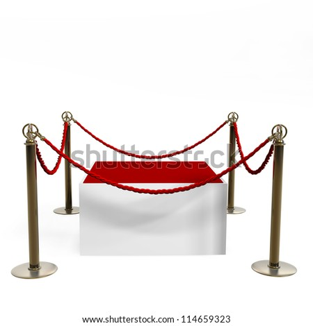 Barrier rope and red box isolated on white background High resolution 3D