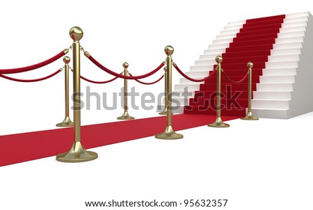 Barrier rope and red carpet (isolated on white and clipping path)