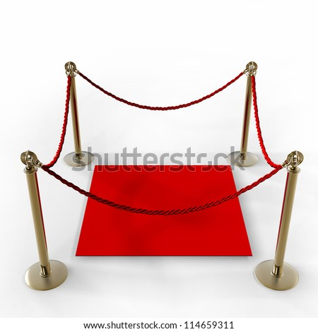 Barrier rope and red carpet isolated on white background High resolution 3D