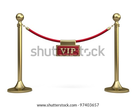 Barrier rope and written warning render (isolated on white and clipping path)