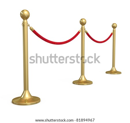 Barrier rope (isolated on white and clipping path)