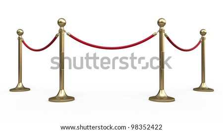 Barrier rope render (isolated on white and clipping path)