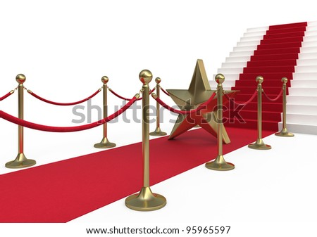 Barrier rope star and red carpet (isolated on white and clipping path)