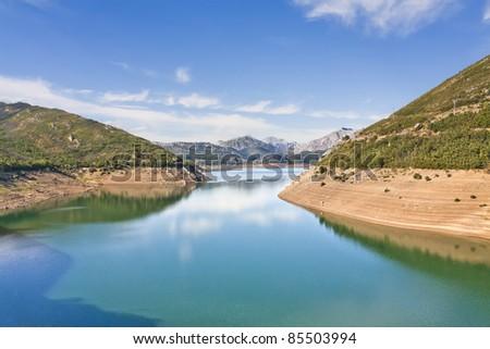 Barrios de Luna reservoir in Leon, Spain