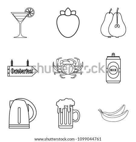 Barroom icons set. Outline set of 9 barroom icons for web isolated on white background
