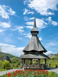 Barsana Monastery is a wooden church complex in Maramures, Romania.
