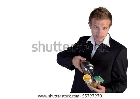Bartender making cocktail and looking at camera on a white background