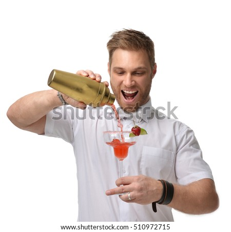 Bartender men is making red margarita cocktail with strawberry and lime happy smiling laughing isolated on a white background