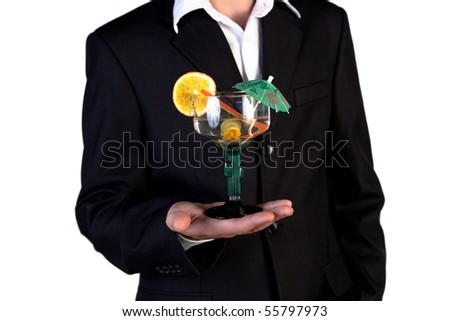 Bartender offering cocktail on a white background