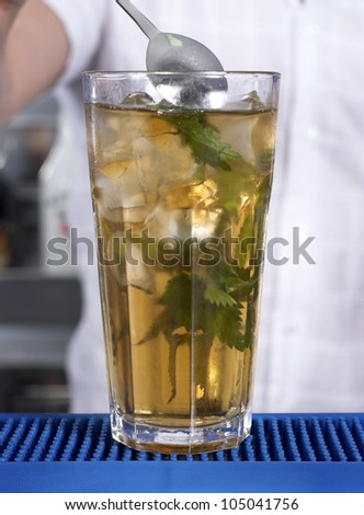 Bartender preparing alcoholic cocktail with mint leaves