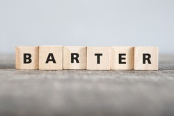 BARTER word made with building blocks