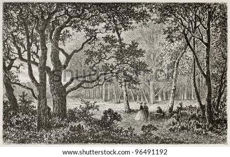 Bas-Breau old view, near Barbizon, Fointainebleau forest, France. Created by Desjobert, published on Le Tour du Monde, Paris, 1867