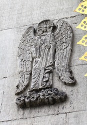 Bas-relief of angel on the wall