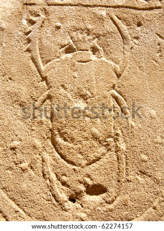 bas-relief of scarab beetle on the wall of ancient temple, Egypt, Luxor, Karnak Temple - stock photo