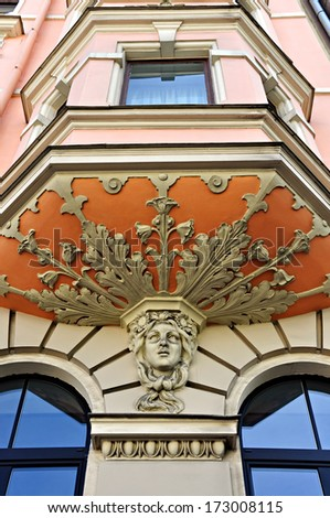 Bas-relief of the art nouveau apartment building in Riga, Latvia #173008115