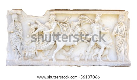 Bas-relief on the side of the ancient Roman sarcophagus.