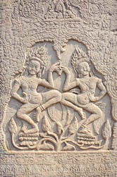 Bas-relief Sculpture at Bayon temple in Angkor Thom, Siemreap, Cambodia.