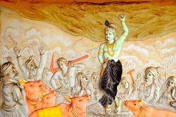 Bas relief sculpture of Lord Krishna lifting mountain Govardhangirii at Shaktinagara Gopalakrishna Temple, Wallpaper Design