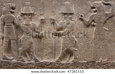 Bas-relief with aggressive mythological beings