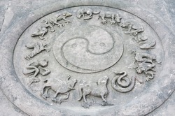 Bas-Relief with YinYang symbol and twelve animals of the chinese chinese zodiac in Chengdu, China
