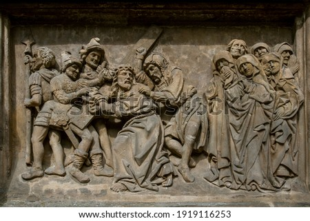 BAS-RELIEFS IN ARCHITECTURE. Bas-relief featuring with scenes from the Bible. Bamberg. Germany. Europe. European travel. Stockfoto ©