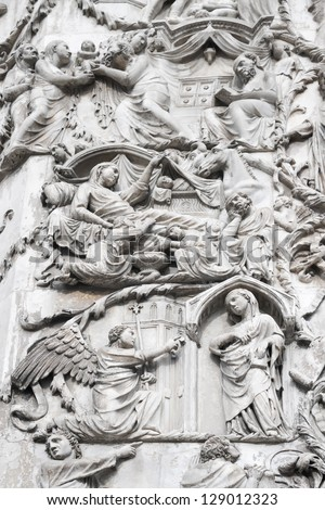 Bas-reliefs on an external wall of facade of the Cathedral (Duomo) with life scenes of Mary (mother of Jesus),Orvieto, Italy. The second pillar--the Messianic Prophesies