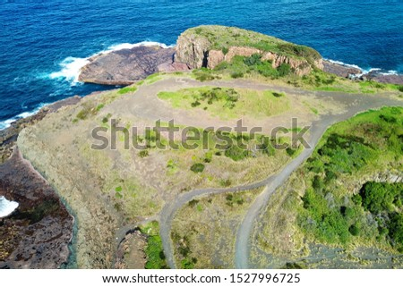 Basalt coastline and pillars in New South Wales close to Kiama #1527996725