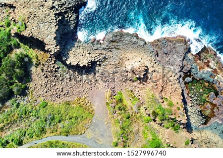 Basalt coastline and pillars in New South Wales close to Kiama #1527996740