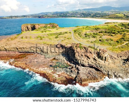 Basalt coastline and pillars in New South Wales close to Kiama