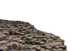 Basalt columns at Giant's Causeway (North Ireland, UK) isolated on white background