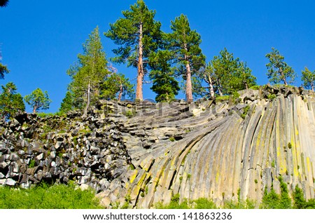 Basalt formations at Devil's Postpile National Monument near Mammoth Mountain in California.