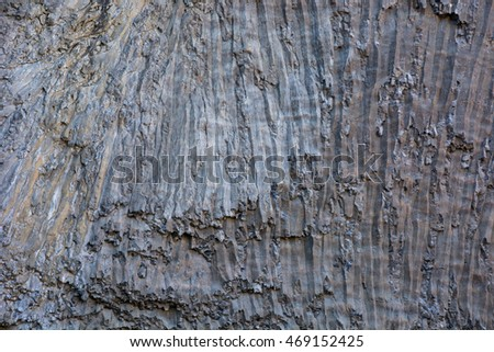 Basalt rock on a cliff face at Yellowstone National Park, Wyoming.  #469152425