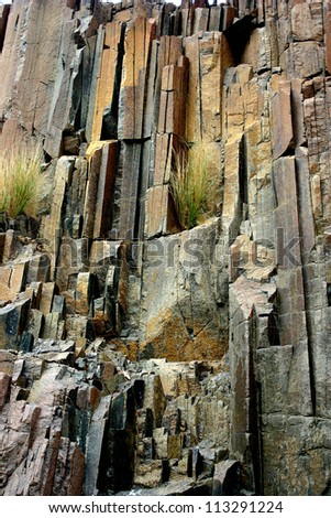 Basalt, volcanic rocks known as the Organ Pipes. Twyfelfontein, Damaraland, Namibia, Southern Africa