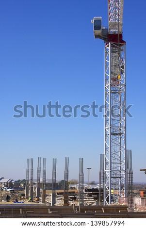 Base of construction crane and rebar columns