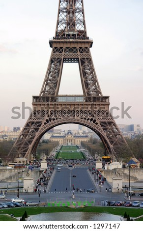 Picture Eiffel Tower on Base Of The Eiffel Tower  Portrait View    Paris  France Stock Photo