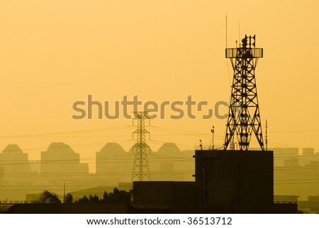 base station of cell phone under sunset, wireless communication