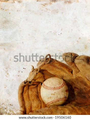 Baseball and leather glove on a grunge background. Copy-space for your text.