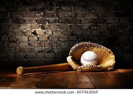 baseball and wall with shadows  #607463069