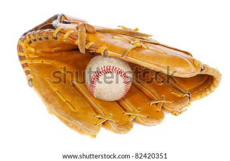 Baseball ball and glove, isolated on white background