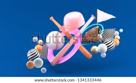 Baseball ball, baseball bat, baseball cap and baseball glove Surrounded by colorful balls on a blue background.-3d rendering.