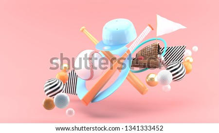 Baseball ball, baseball bat, baseball cap and baseball glove Surrounded by colorful balls on a pink background.-3d rendering.