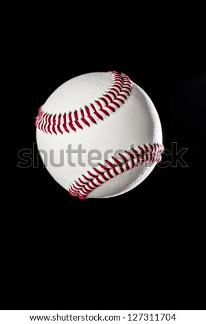 Baseball Ball closeup on a black Background