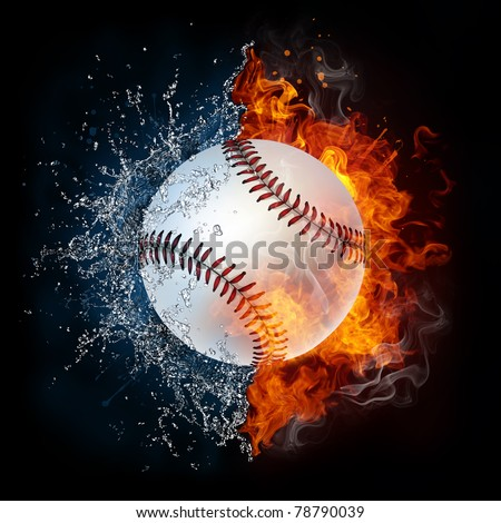 Baseball ball in fire and water. Illustration of the baseball ball enveloped in elements isolated on black background. High resolution baseball ball in fire and water image for a baseball game poster.