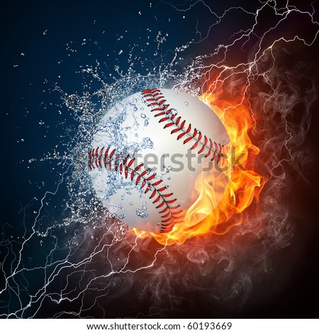 Baseball ball in fire and water. Illustration of the baseball ball enveloped in elements on black background. High resolution baseball ball in fire and water image for a baseball game poster.