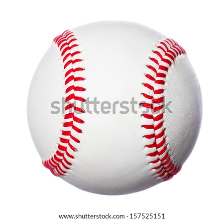 baseball ball Isolated on a white background with red stitches