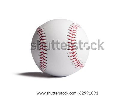 Baseball ball with shadow isolated on white background
